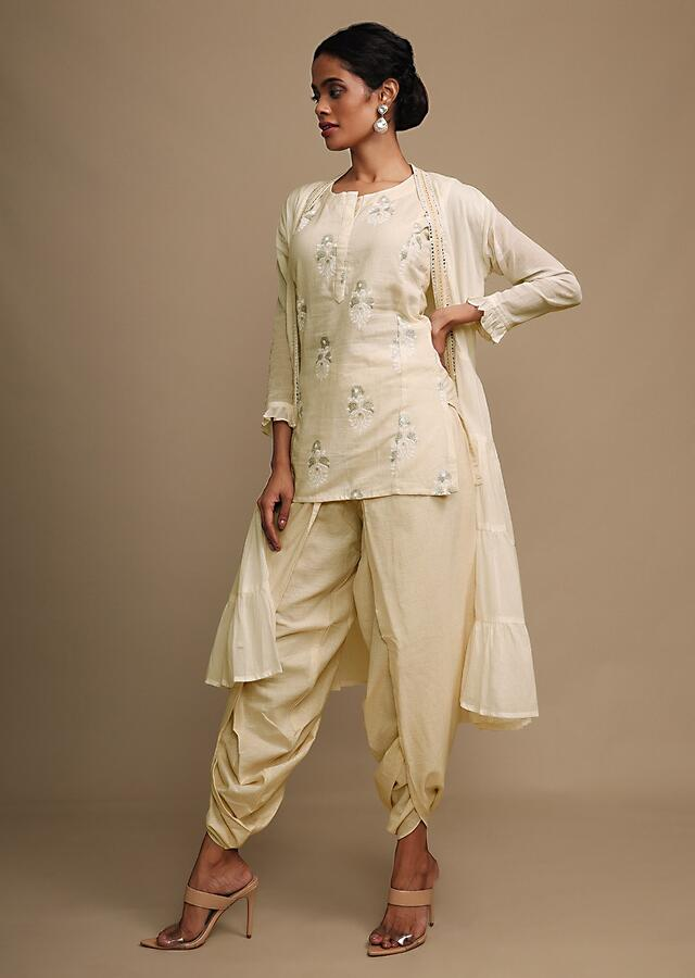 Off White Dhoti Suit With Foil Print And Tiered Jacket Online - Kalki Fashion