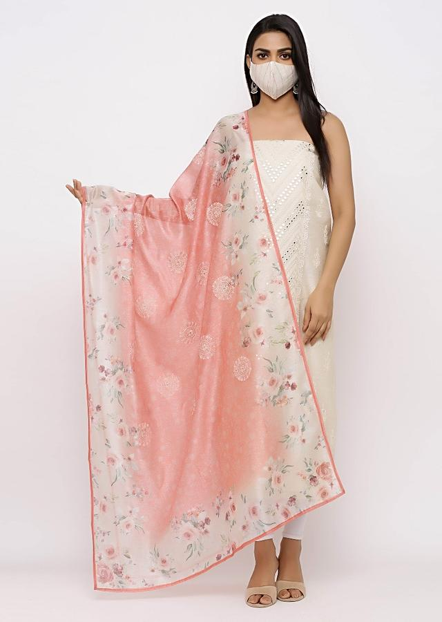 Off White Embroidered Unstitched suit With Cotton Mask Online - Kalki Fashion