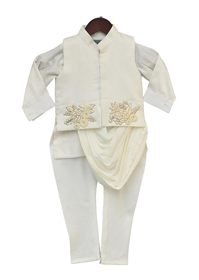 Off White Nehru Jacket With Embroidery Work And Cowl Drape Kurta Set by Fayon Kids