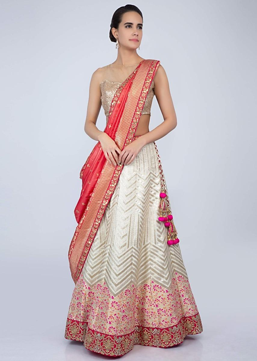 1b6209b1a9 Off white floral embroidered brocade silk lehenga with contrasting peach  dupatta only on KalkiMore Detail
