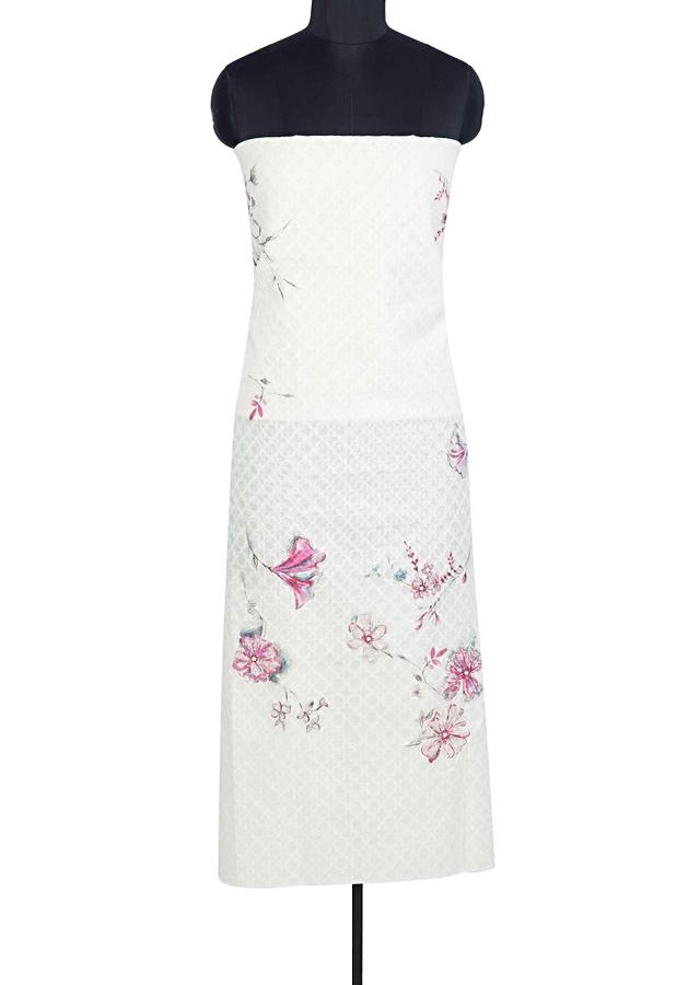 Off White Unstitched Suit In Floral Printed Jacquard Cotton With Contrasting Pink Border Dupatta Online - Kalki Fashion
