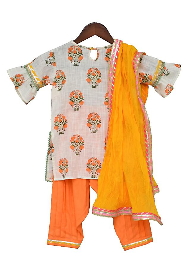 Off White Printed Kurti With Orange Salwar And Yellow Dupatta by Fayon Kids