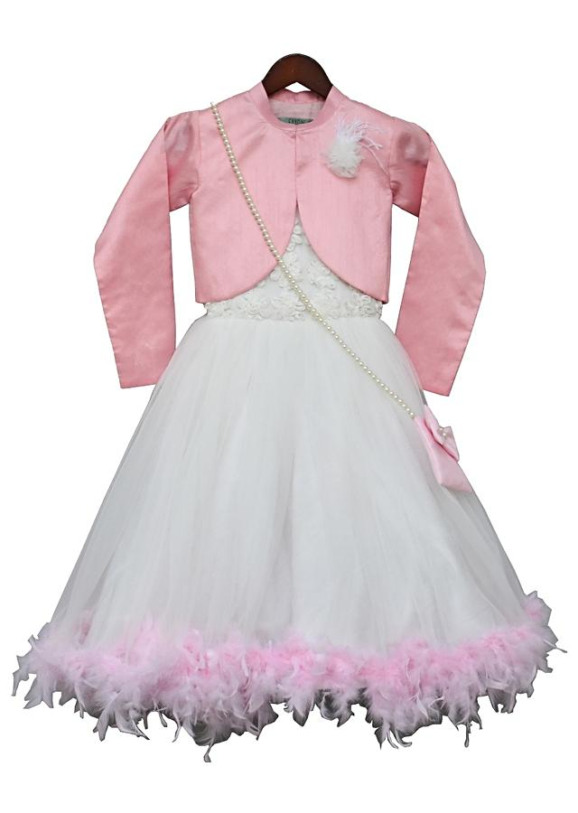 Off-White Fur Gown With Pink Shrug by Fayon Kids