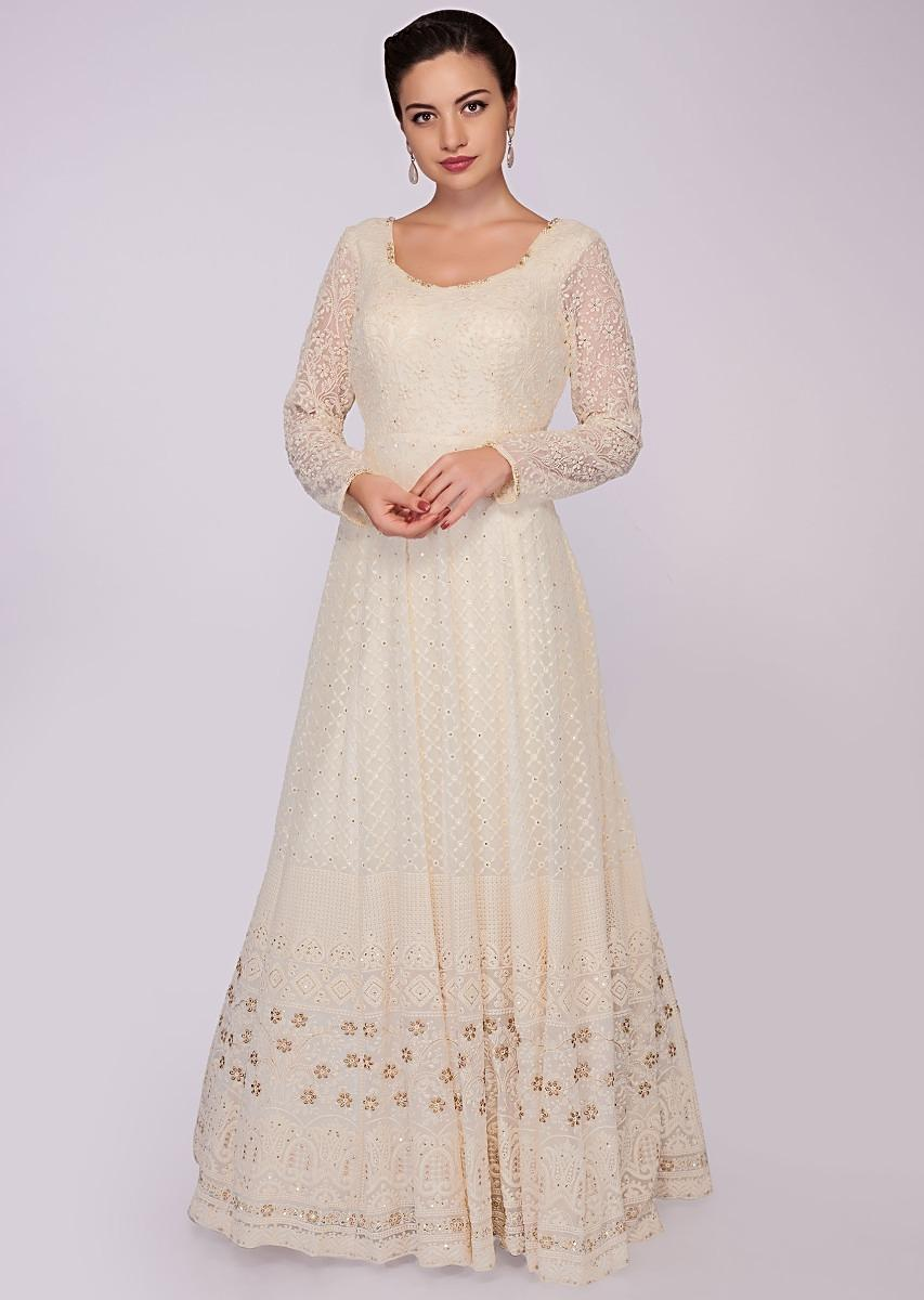 dc74f9b897 Off white georgette anarkali dress in chicken embroidery only on KalkiMore  Detail