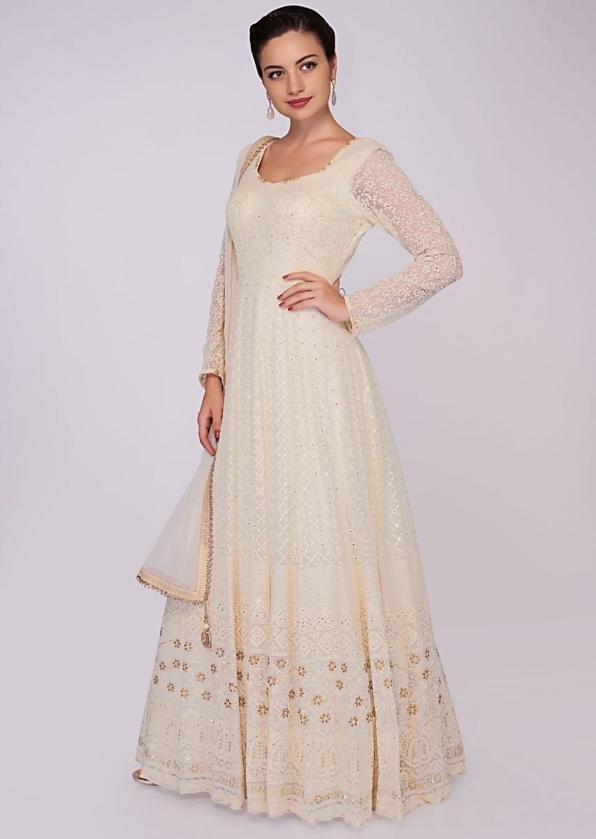 ad5d164e417 off white georgette anarkali dress in chicken embroidery only on Kalki