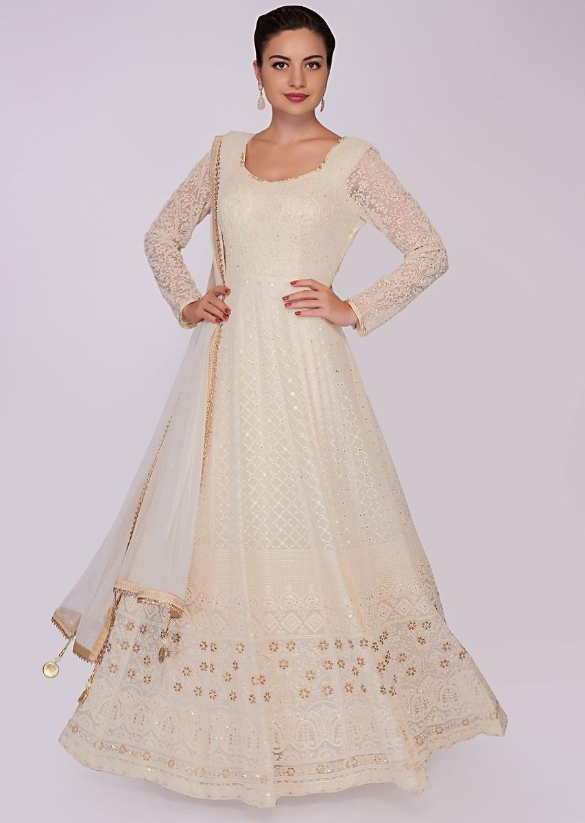 fcc148e854e Off white georgette anarkali dress in chicken embroidery only on KalkiMore  Detail