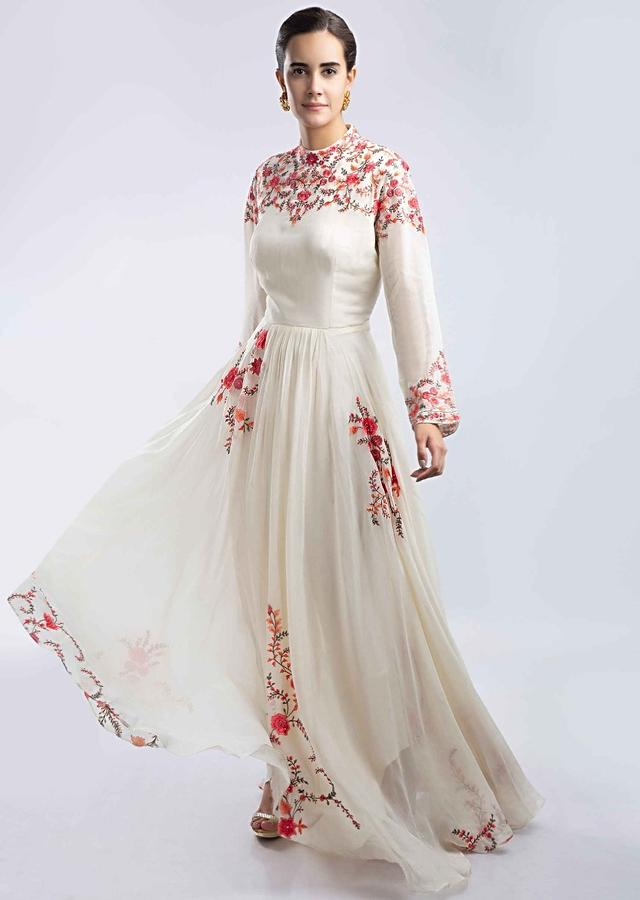 Off White Anarkali In Georgette With Multi Color Floral Resham Embroidery Online - Kalki Fashion