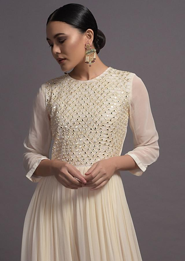Off White Georgette Jumpsuit With Mirror And Resham Embroidered Bodice Online Kalki Fashion