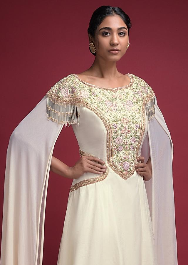 Off White Indowestern suit With Extended Floor Length Sleeves And Thread Embroidery Online - Kalki Fashion