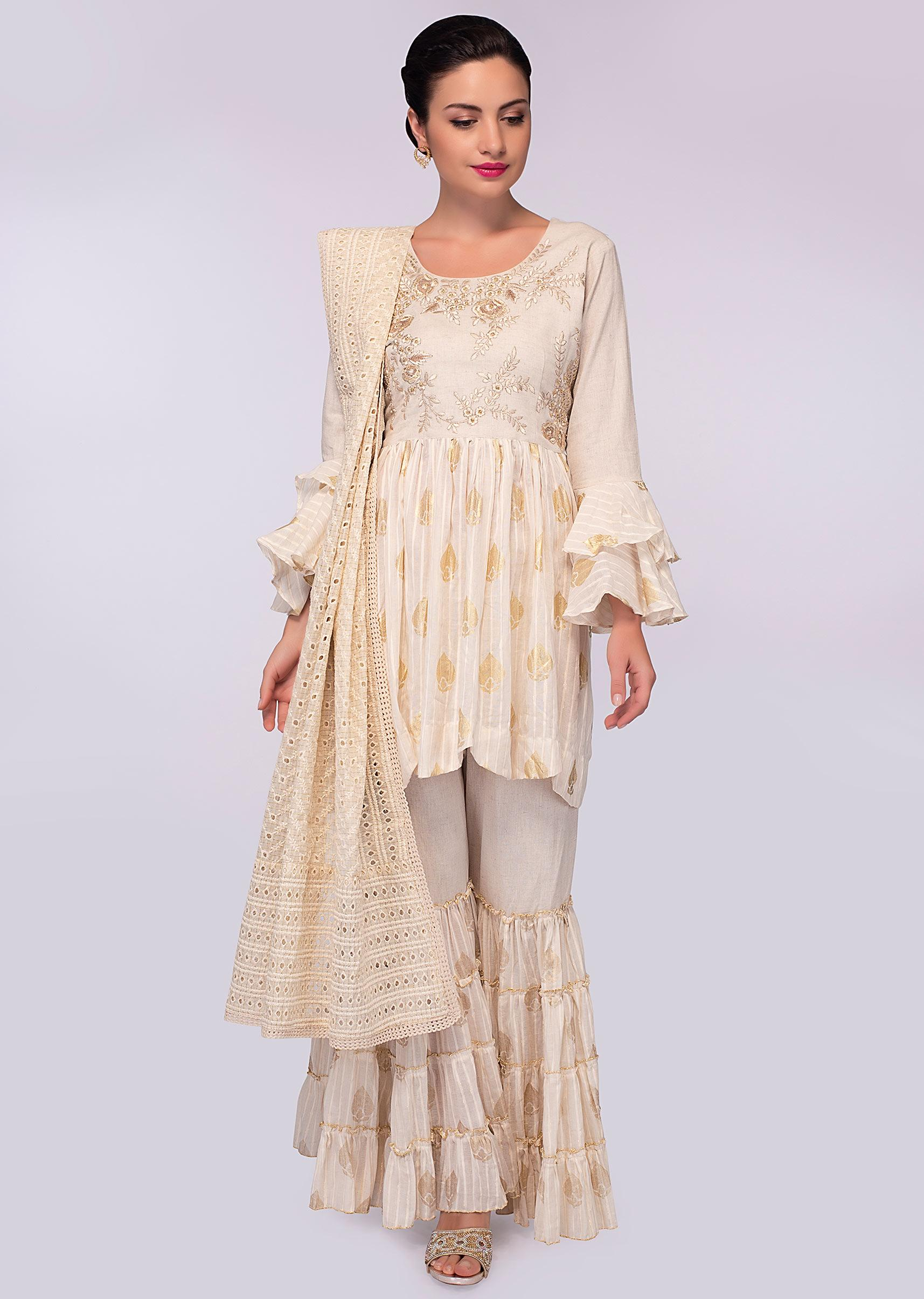 46080a6082 off white sharara suit in foil printed butti only on kalki