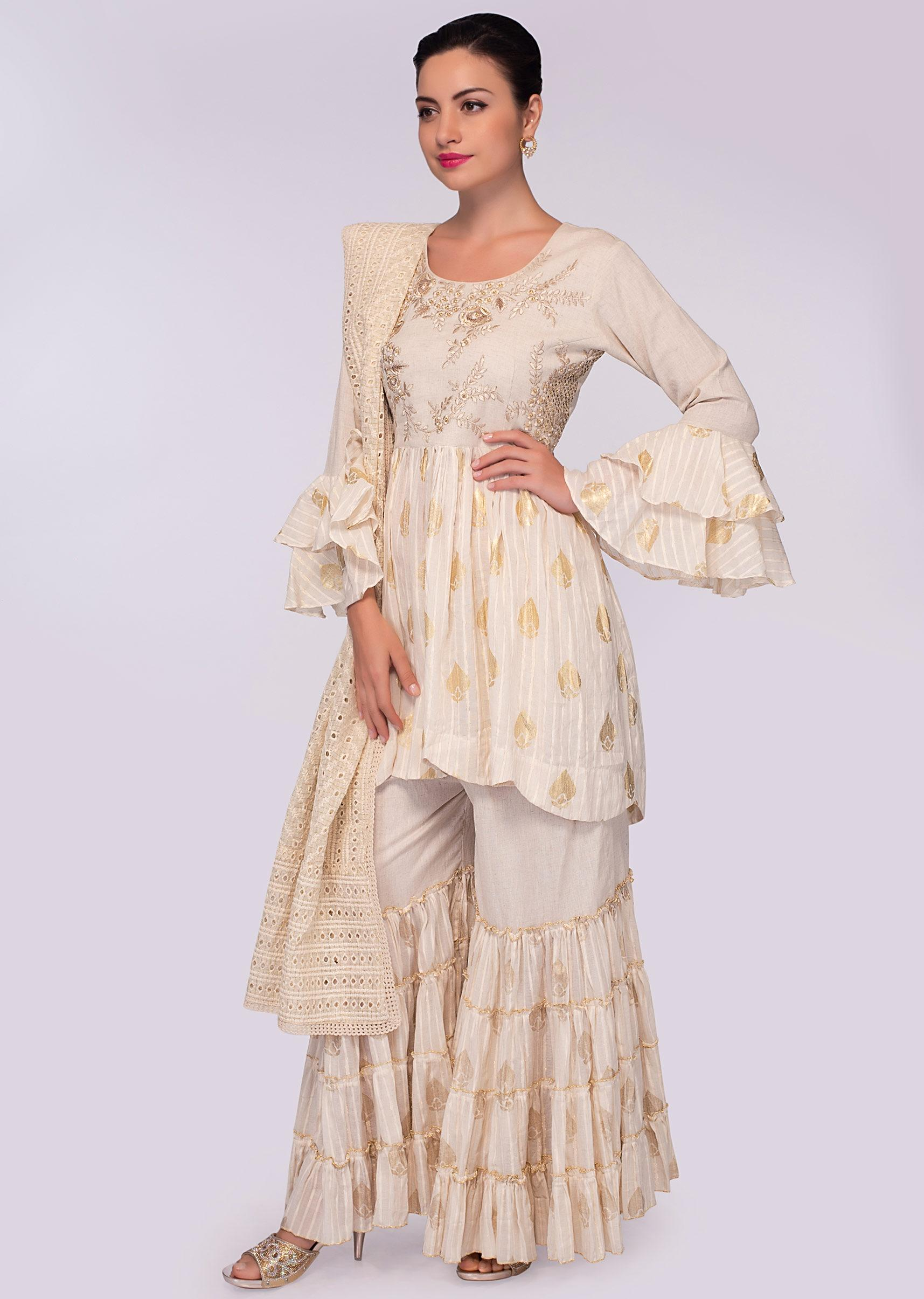 fe0d639b6 off white sharara suit in foil printed butti only on kalki