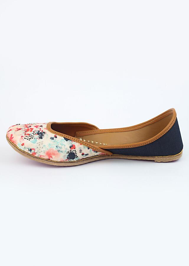 Off White Juttis With Water Color Are Print And Multi Colored Cut Dana Embroidery By Vareli Bafna
