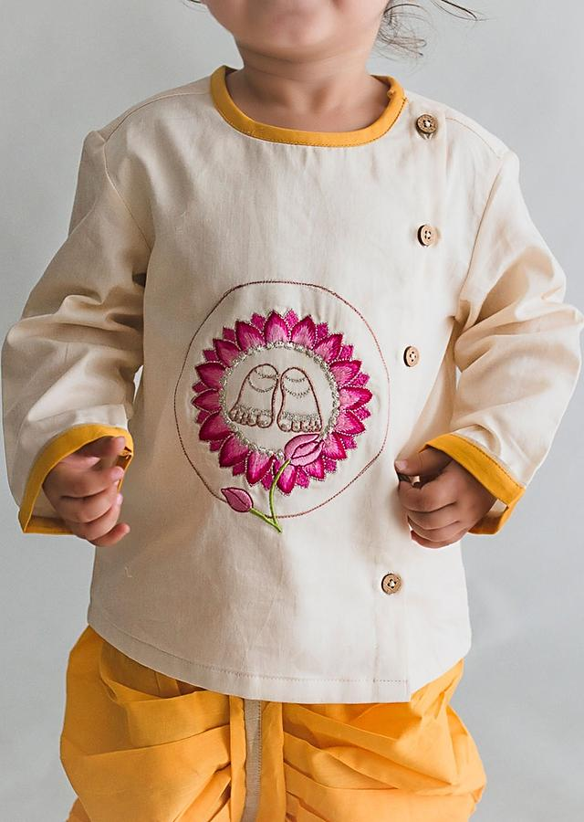 Off White Kurta Set For Little Gopala With Thread Embroidered Krishna Inspired Motifs By Tiber Taber