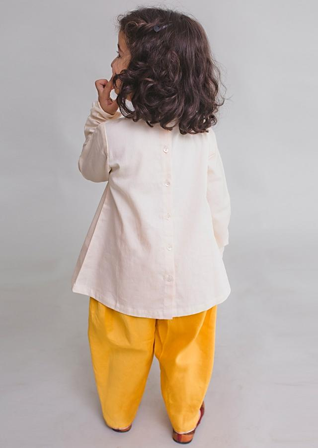 Off White Kurta Set For Little Radha With Aari Embroidered Krishna Inspired Motifs By Tiber Taber