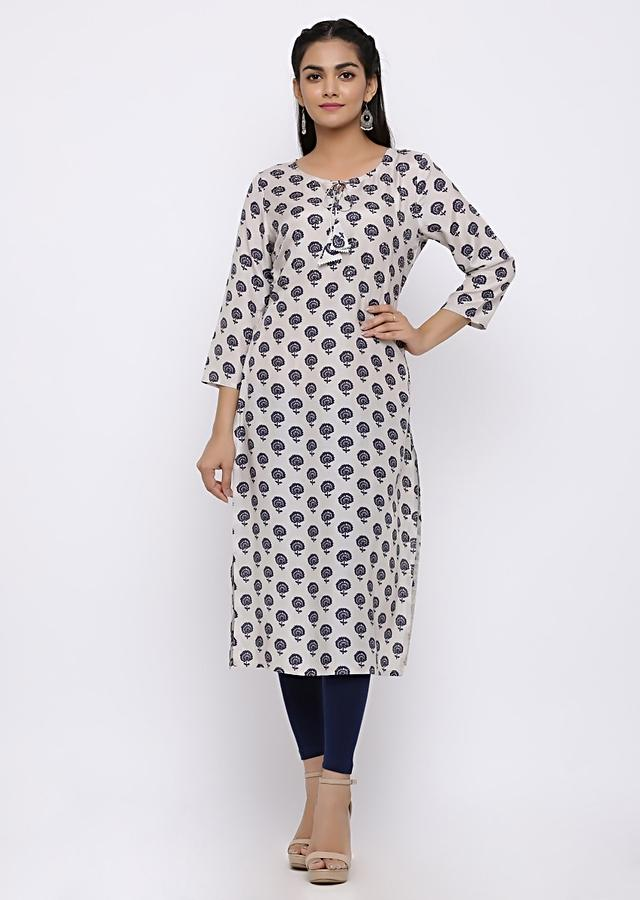 Off White Kurti In Cotton With Butti Print And Tie Up At Neckline  Online - Kalki Fashion