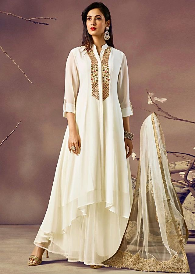 Off White Kurti With Front Short And Back Long In Resham Embroidered Placket Online - Kalki Fashion