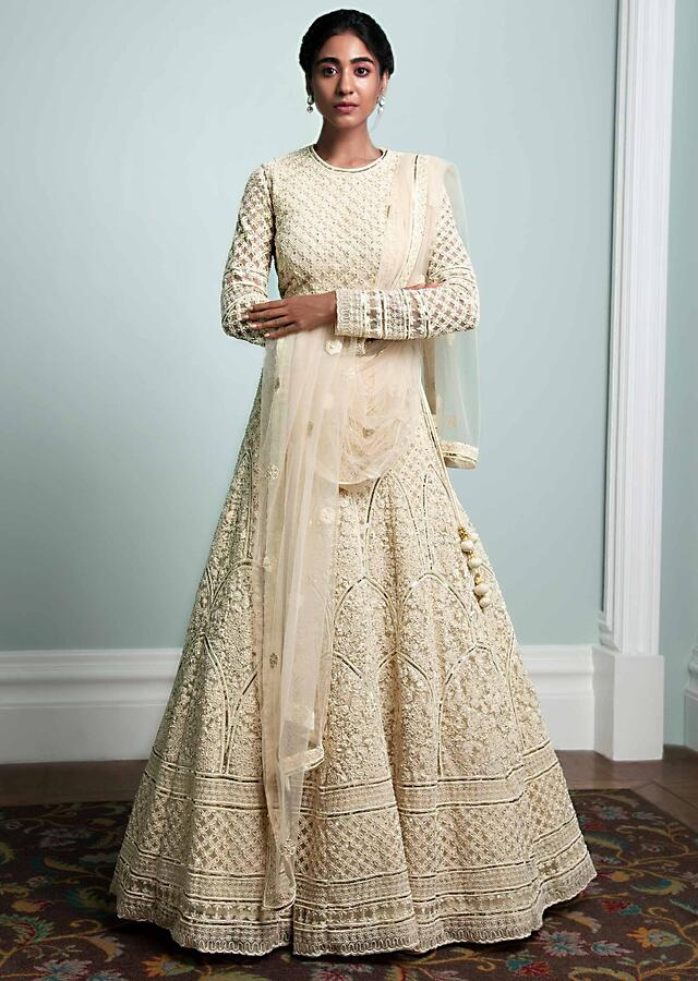 Off White Lehenga Choli In Thread Embroidered Net In Floral Pattern Online - Kalki Fashion