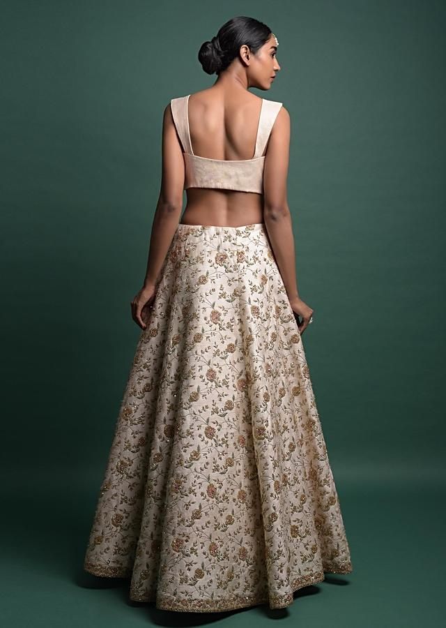 Off White Lehenga In Raw Silk With Embroidered Floral Jaal Online - Kalki Fashion
