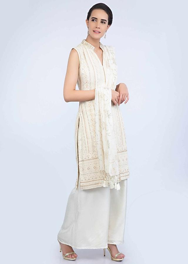 Off White Suit With Lucknowi Embroidery Teamed With Matching Palazzo And Dupatta Online - Kalki Fashion