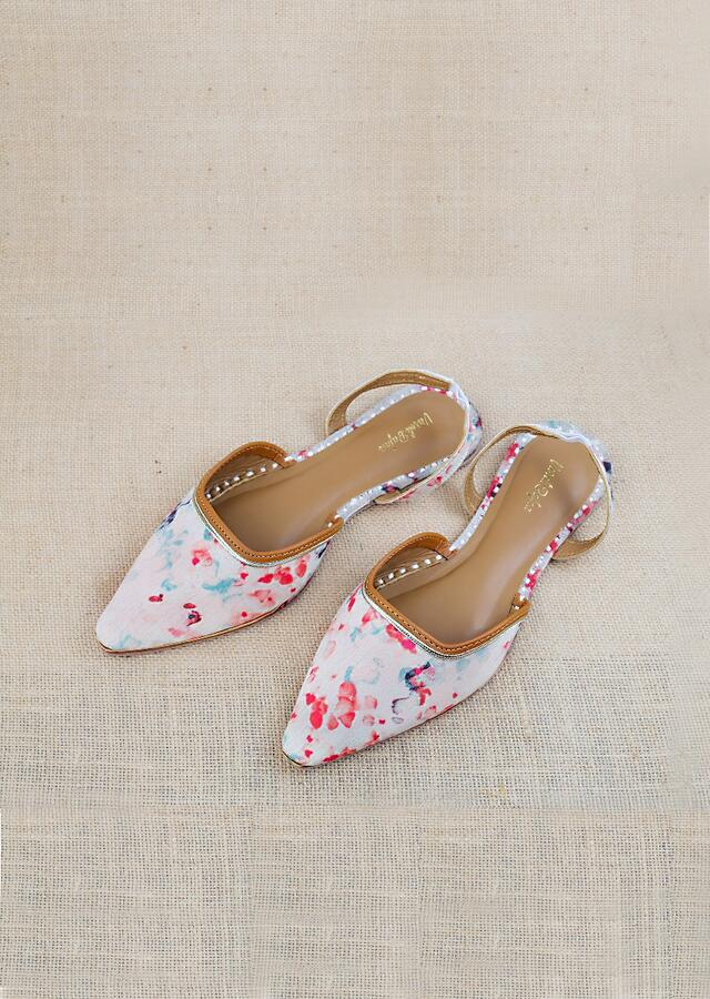 Off White Mules With Back Strap Featuring Multi Colored Water Color Print And Braided Rose Gold Zari By Vareli Bafna