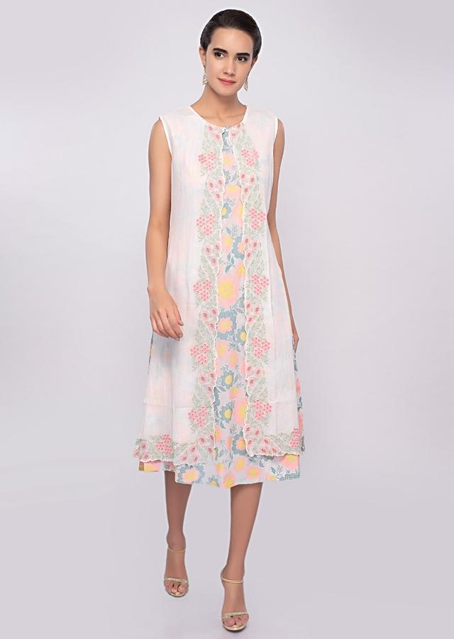 Off White Tunic Dress With Multi Color Floral Print And Matching Cotton Jacket Online - Kalki Fashion