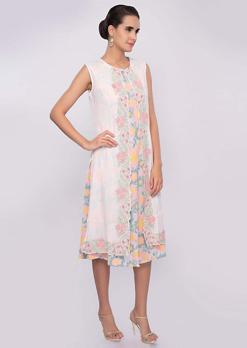 78af720be4a Off white multi color floral printed tunic dress with matching cotton  jacket only on Kalki