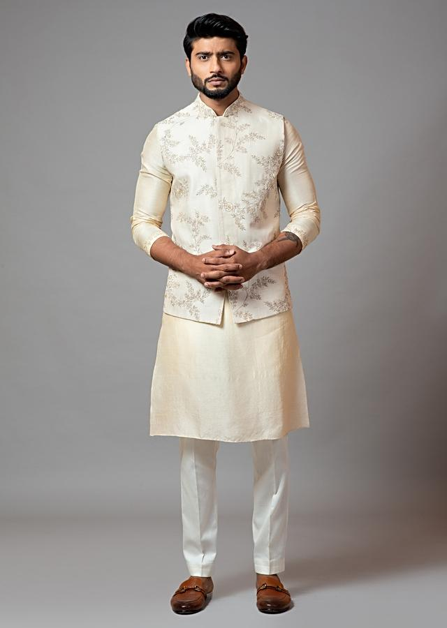 Off White Nehru Jacket In Bam Silk With Delicate Jaal Embroidery By Smriti Apparels