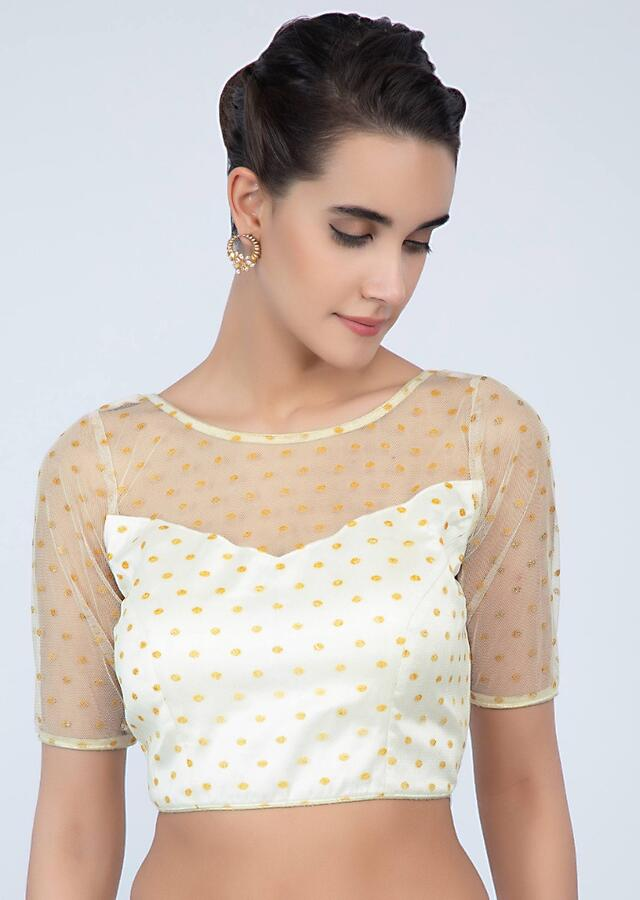 Off White Blouse In Net With Yellow Buttis All Over Online - Kalki Fashion