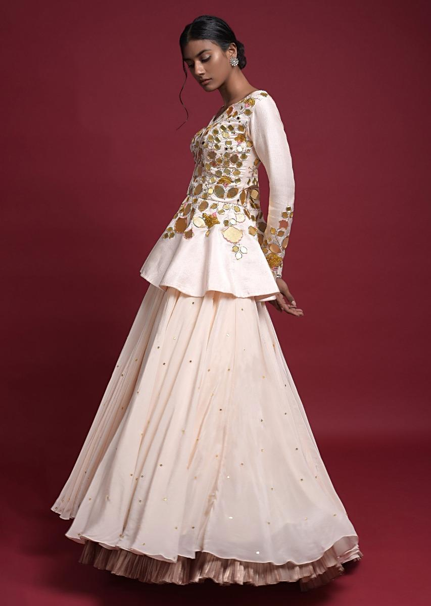 Buy Off White Peplum Top With Flower And Leaf Cut Mirror Work And Matching  Lehenga Online - Kalki Fashion