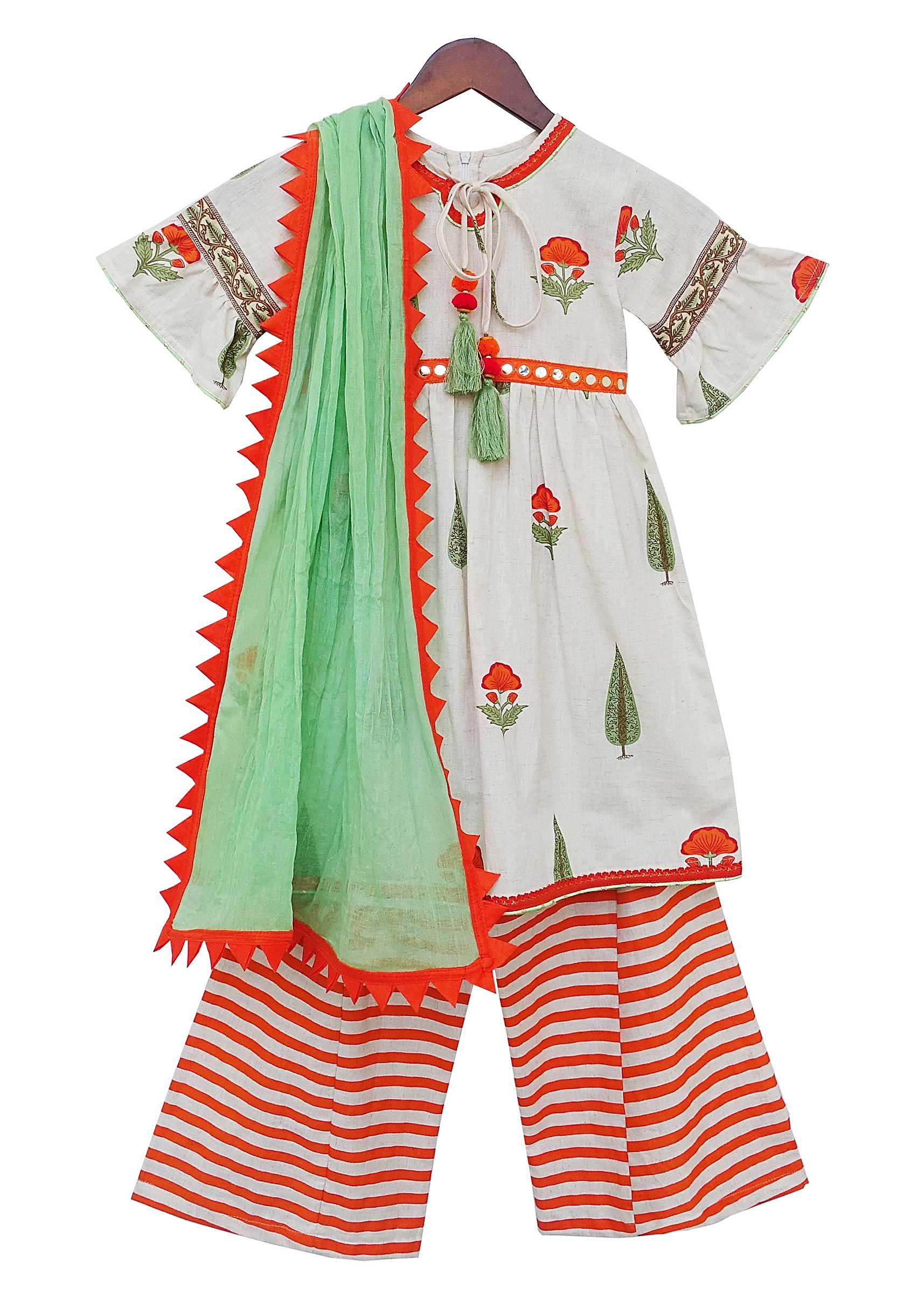 d902178e13e Off-white Printed Kurti Palazzo Set by Fayon Kids