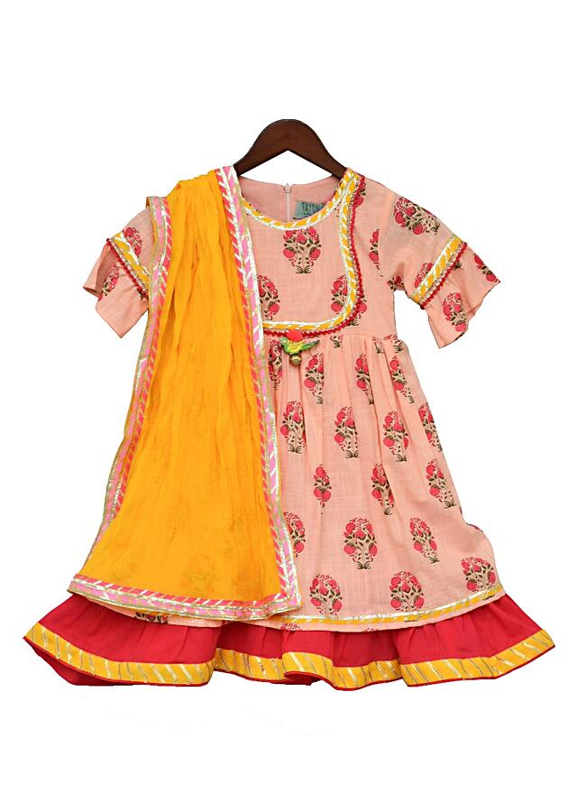 Off White Anarkali With Flower Print And Yellow Dupatta by Fayon Kids