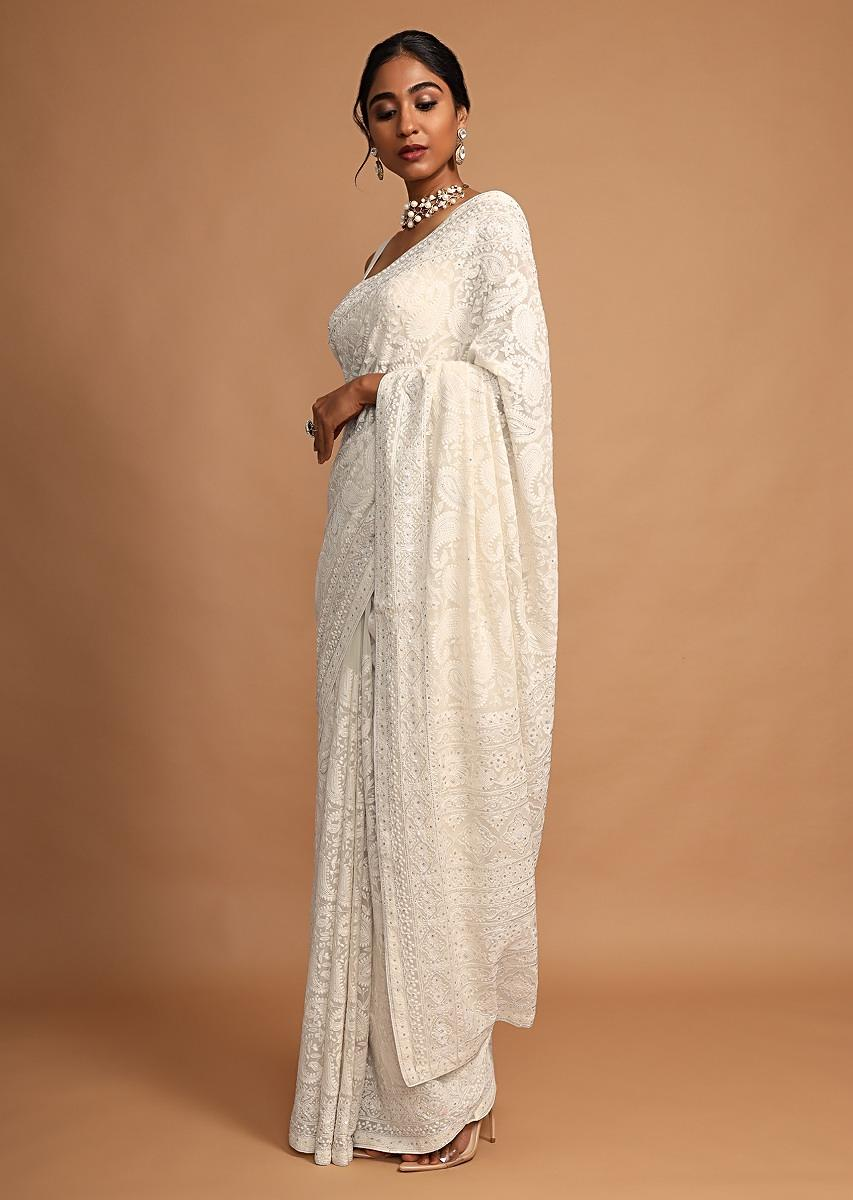 Off White Saree In Georgette With Lucknowi Chikankari In Paisley Jaal Design Online - Kalki Fashion