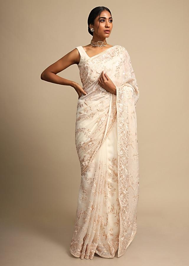 Off White Saree In Georgette With Resham Embroidered Floral Jaal Online - Kalki Fashion