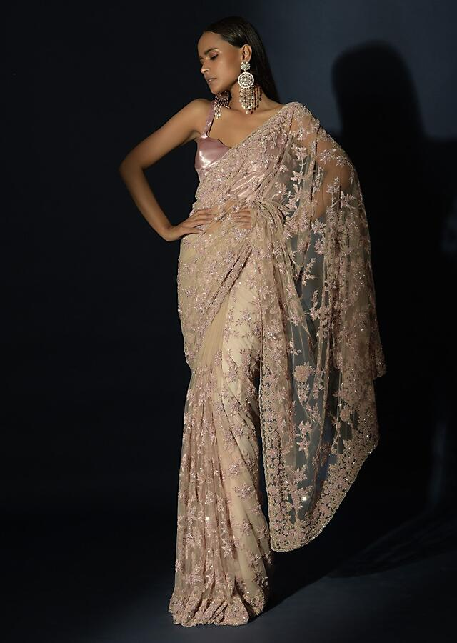 Beige Saree In Net With Blush Pink Resham And Sequins Embroidered Floral Jaal Online - Kalki Fashion