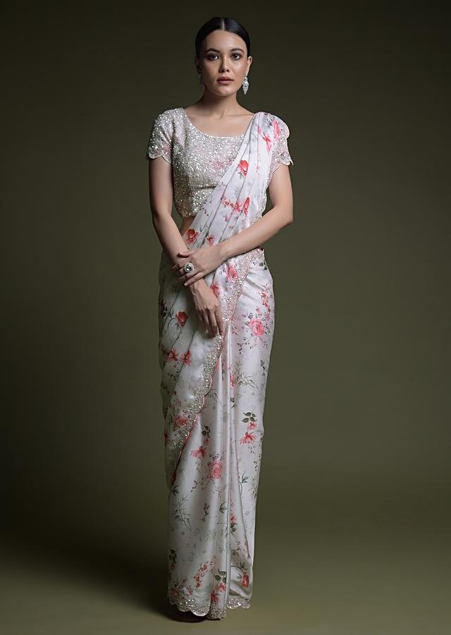 Off White Saree In Organza With Floral Print And Matching Sequins Embellished Blouse Online - Kalki Fashion