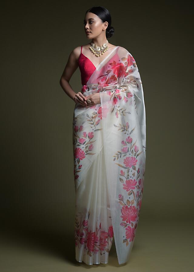 Off White Saree In Organza With Printed Flowers On The Border Online And Unstitched Blouse - Kalki Fashion