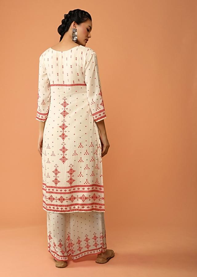 Off White Shaded Straight Cut Palazzo Suit In Cotton With Tribal Print And Kundan Work Online - Kalki Fashion