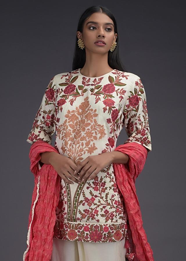 Off White Sharara Suit In Khadi Cotton With Kashmiri Thread Embroidery In Floral Pattern Online - Kalki Fashion