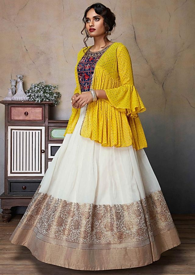 Off White Lehenga In Silk With Weaved Navy Blue Crop Top And Yellow Jacket Online - Kalki Fashion