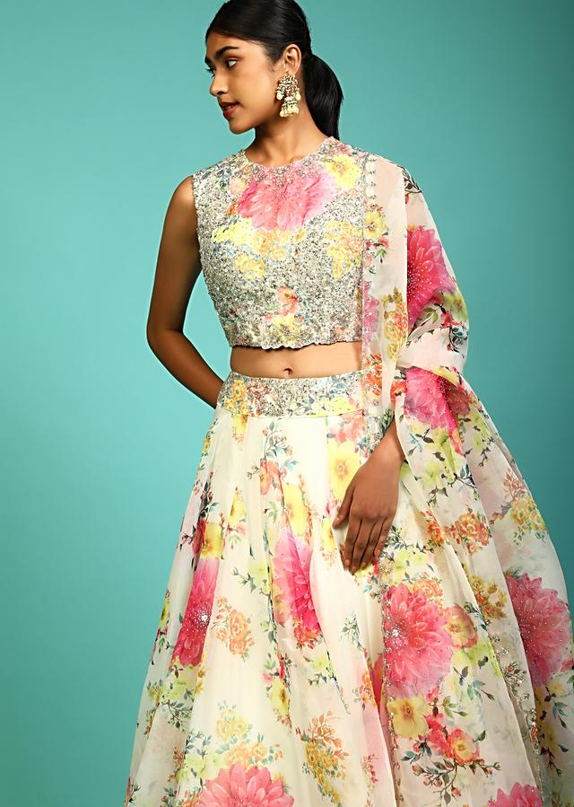 Off White Skirt And Crop Top In Organza With Multi Colored Floral Print And Kundan Accents Online - Kalki Fashion