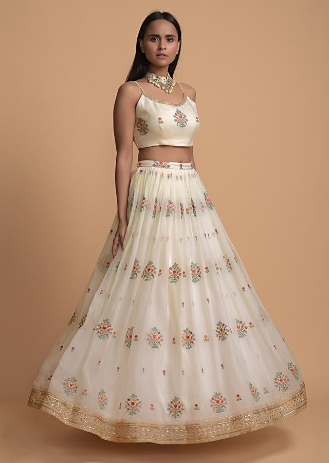 Off White Skirt And Crop Top Set In Organza With Colorful Resham Embroidered Floral Buttis Online - Kalki Fashion