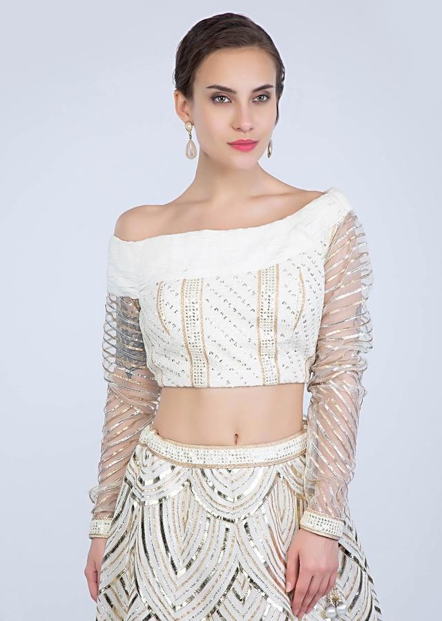 Off White Lehenga In Thread Embroidered Lurex With One Side Off Shoulder Matching Blouse Online - Kalki Fashion