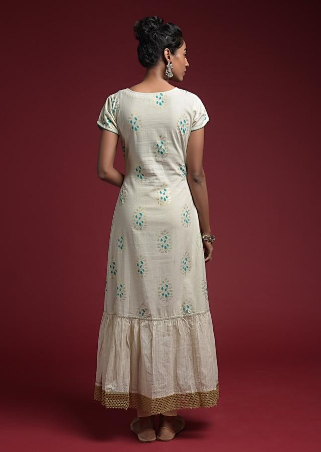 Off White Tunic In  Cotton With Blue And Gold Block Printed Buttis And Lace Accents Online - Kalki Fashion
