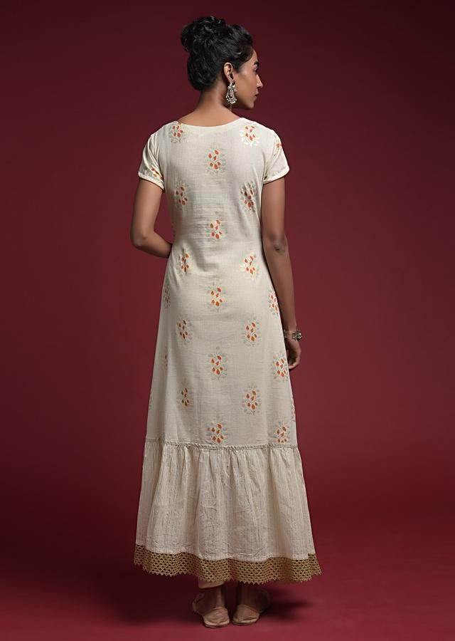 Off White Tunic In  Cotton With Orange And Gold Block Printed Buttis And Lace Accents Online - Kalki Fashion