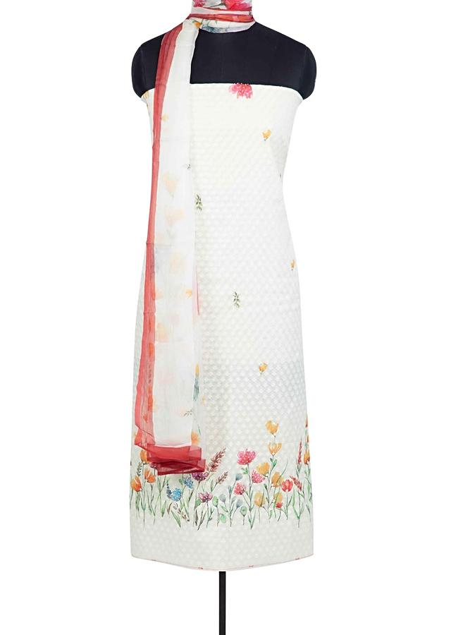 Off White Unstitched Suit In Jacquard Cotton With Floral Print Online - Kalki Fashion