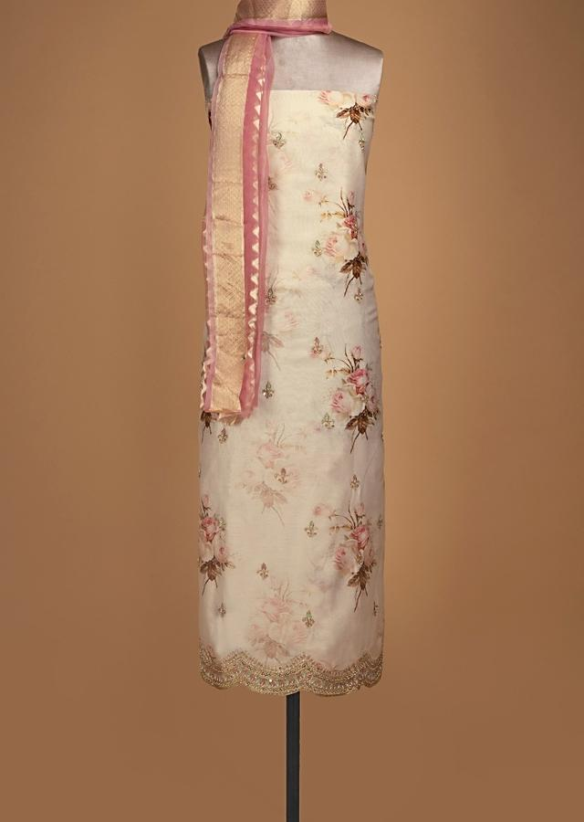 Off White Unstitched Suit In Cotton With Floral Print Online - Kalki Fashion