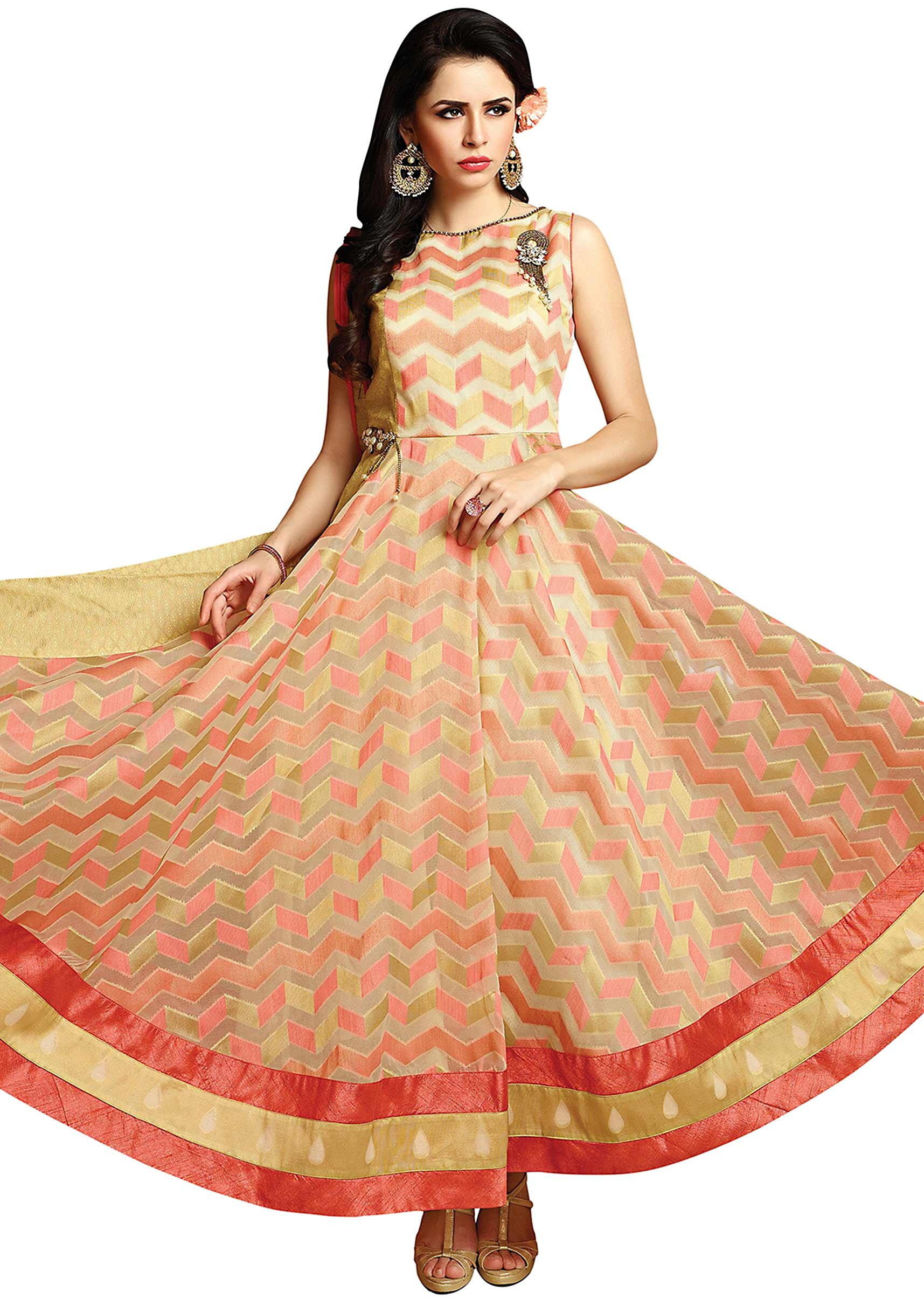 854749b3dc7d Off white and pink anarkali suit with fancy tassel