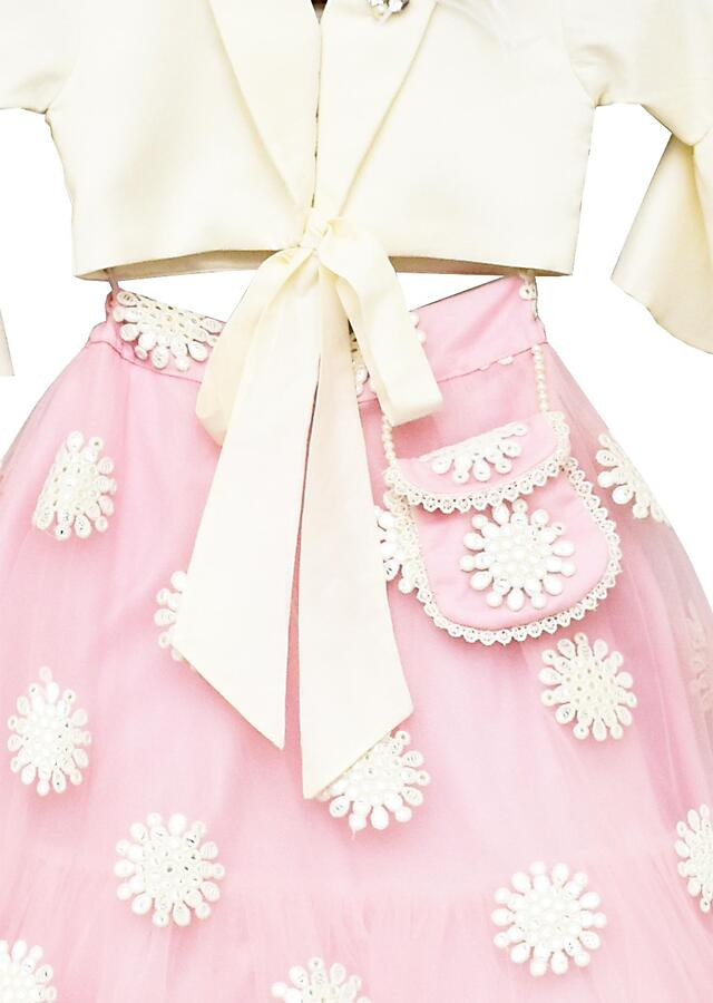 Offwhite Top with Pink Embroidery Net Lehenga By Fayon Kids