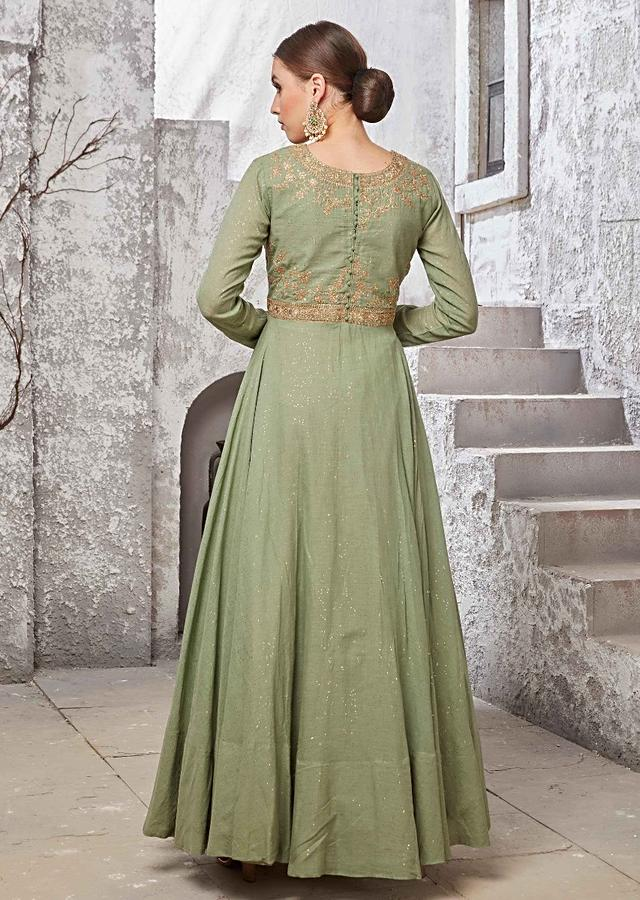 Olive Green Anarkali Suit In Cotton With Embroidered Bodice In Floral And Paisley Motif Online - Kalki Fashion