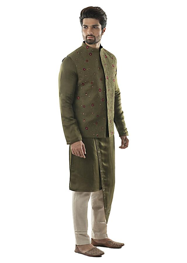 Olive Green Bandi With Overall Jaal Embroidery And Matching Kurta Set Online - Kalki Fashion